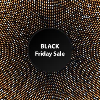 Czarny piątek sprzedaż na złotym tle etykiety