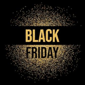 Czarny piątek sprzedaż napis tekst tło złoto świecidełka. czarny piątek lśnią złotymi błyskami.