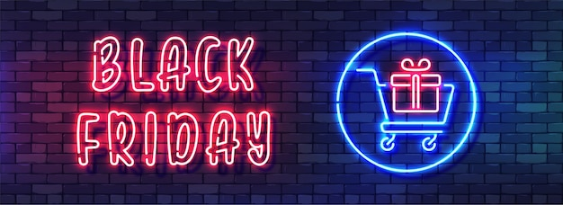 Czarny piątek sprzedaż neon kolorowy baner. odręczny alfabet neon na ciemnym tle ściany z cegły.