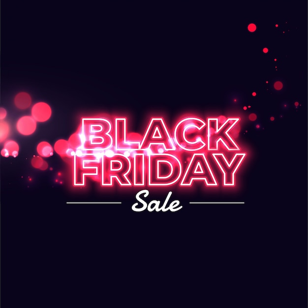 Czarny piątek sprzedaż neon świecące