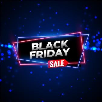 Czarny piątek sprzedaż neon tło z świecące cząstek