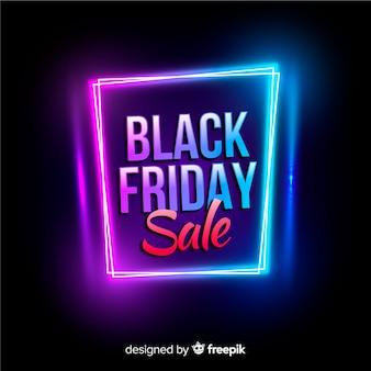 Czarny piątek sprzedaż neon tło