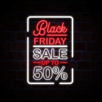 Czarny piątek sprzedaż neon znak styl ilustracji