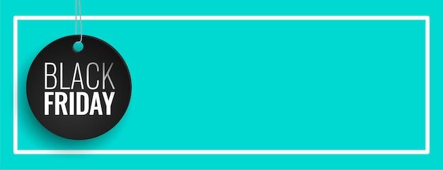 Czarny piątek sprzedaż niebieski sztandar z miejscem na tekst