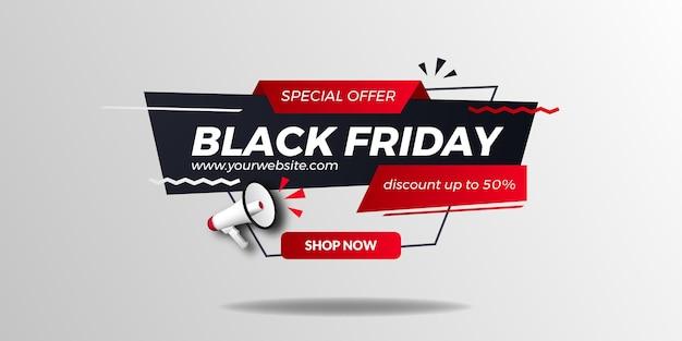 Czarny piątek sprzedaż oferta promocyjna rabat plakatowy baner z ilustracją 3d megafon