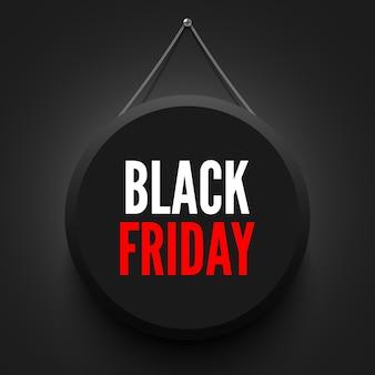 Czarny piątek sprzedaż okrągły baner.