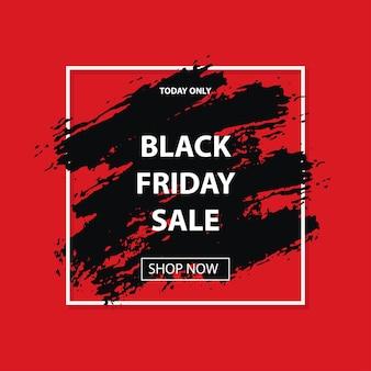 Czarny piątek sprzedaż pędzli grunge obrysu w białej kwadratowej ramce