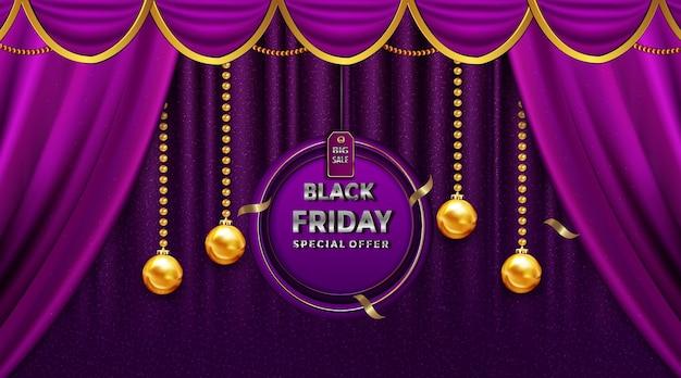 Czarny piątek sprzedaż pięknych kart okolicznościowych na złotych etykietach do dekoracji