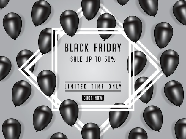 Czarny piątek sprzedaż plakat ilustracja z lśniące balony