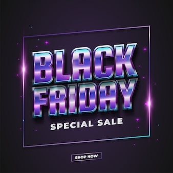 Czarny piątek sprzedaż plakat lub baner z kolorowym tekstem retro