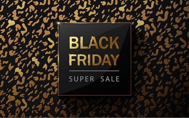 Czarny piątek sprzedaż plakat. wzór lamparta. złote i czarne tło luksusowe. sztuka papierowa i styl rzemiosła.