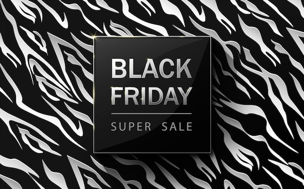 Czarny piątek sprzedaż plakat. wzór zebry. białe i czarne luksusowe tło. sztuka papierowa i styl rzemiosła.