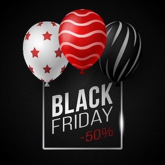 Czarny piątek sprzedaż plakat z błyszczącymi balonami na czarnym tle ze szklaną kwadratową ramką. ilustracja.