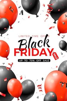 Czarny piątek sprzedaż plakat z błyszczącymi czerwono-czarnymi balonami i konfetti.