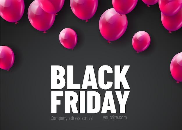Czarny piątek sprzedaż plakat z bukietem błyszczących balonów na białym tle na czarnym tle.