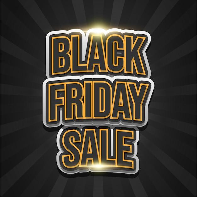 Czarny piątek sprzedaż plakat z wytłoczonym tekstem na ciemnym tle