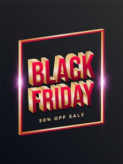Czarny piątek sprzedaż plakat ze złotą ramką i tekstem 3d