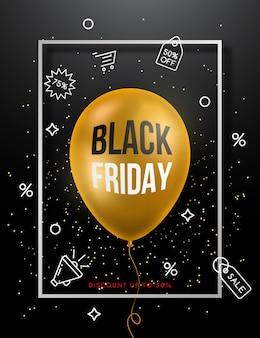 Czarny piątek sprzedaż plakat ze złotym balonem.