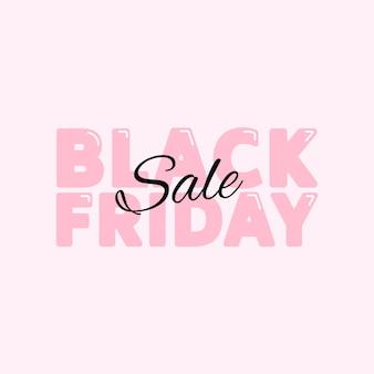Czarny piątek sprzedaż plakatowy baner z uroczą różową typografią