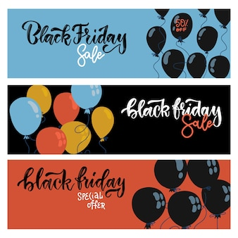 Czarny piątek sprzedaż poziome banery internetowe zestaw. latające balony płaskie na niebieskim, czarnym i czerwonym tle.