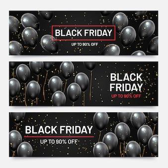 Czarny piątek sprzedaż poziome banery zestaw. latające błyszczące balony z spadającym złotym konfetti. rabat na produkty w sklepie, duża wyprzedaż do 90 procent zniżki na ilustracji wektorowych reklamy