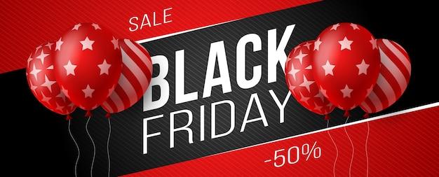 Czarny piątek sprzedaż poziomy baner z ciemnymi czerwonymi błyszczącymi balonami na czarnym tle z miejscem na tekst. ilustracja.