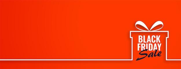 Czarny piątek sprzedaż prezent na pomarańczowym banerze internetowym