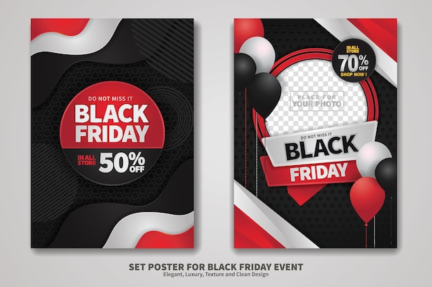 Czarny piątek sprzedaż projekt plakatu z teksturą tła, elegancki, luksusowy i czysty design. ilustracja wektorowa.