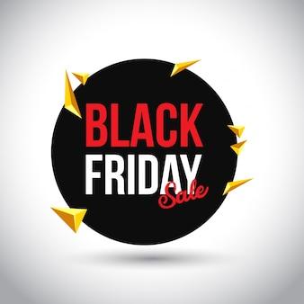 Czarny piątek sprzedaż. prosta typografia w czarnym kole na białym tle