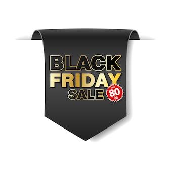 Czarny piątek sprzedaż przewijania transparent papieru. czarna wstążka papieru na białym tle. realistyczna etykieta sprzedaży.