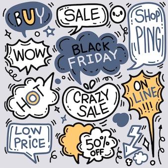 Czarny piątek sprzedaż ręcznie rysowane ilustracja koncepcja. czarny piątek sprzedaż ręka napis i gryzmoły elementy i symbole tło.