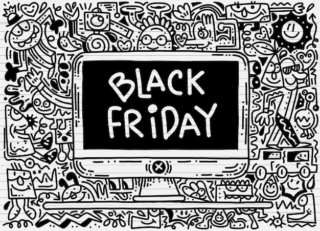 Czarny piątek sprzedaż ręcznie rysowane ilustracja koncepcja. czarny piątek sprzedaż ręka napis i gryzmoły.
