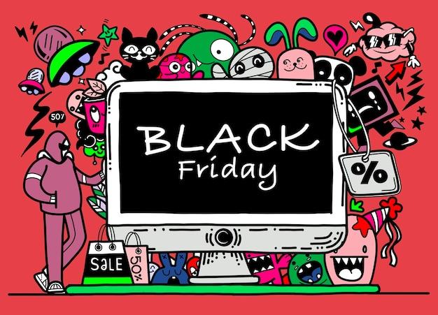 Czarny piątek sprzedaż ręcznie rysowane, ilustracja koncepcja, elementy gryzmoły.