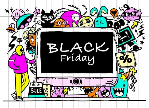 Czarny piątek sprzedaż ręcznie rysowane ilustracji. ręcznie napisane elementy i gryzmoły