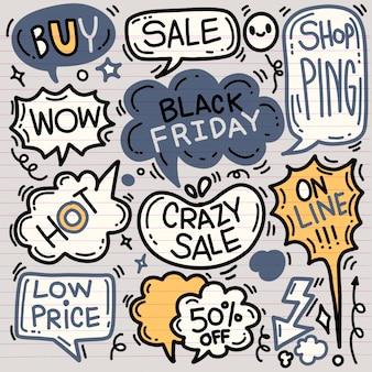 Czarny piątek sprzedaż ręcznie rysowane zestaw dymków