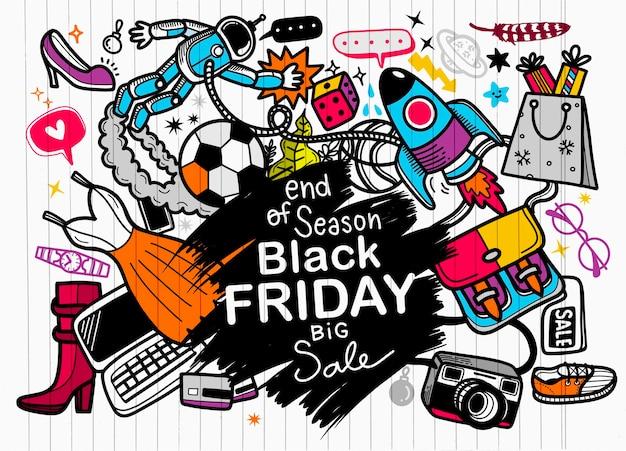 Czarny piątek sprzedaż ręka napis i elementy doodles