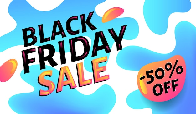 Czarny piątek sprzedaż reklamujący niebieski i biały baner internetowy lub plakat, szablon plakatu z kolorowymi elementami abstrakcyjnymi