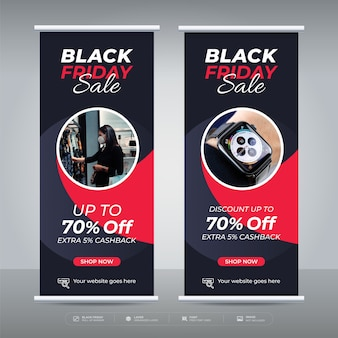 Czarny piątek sprzedaż roll up banner oferta promocyjna szablon