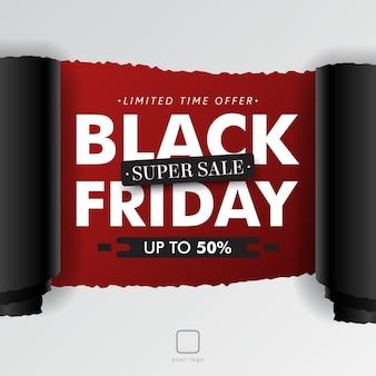 Czarny piątek sprzedaż rozdarty walcowane papieru