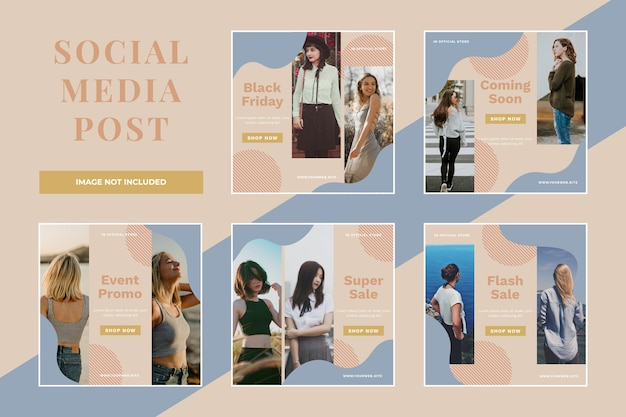 Czarny piątek sprzedaż social media post set template