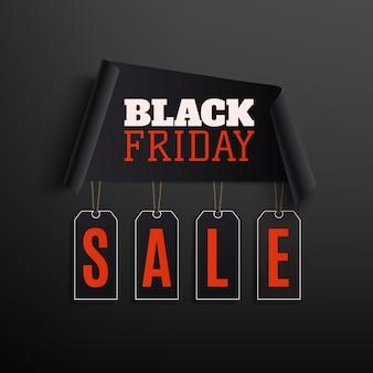 Czarny piątek sprzedaż streszczenie projektu. zakrzywiony papierowy transparent z metkami na białym na czarnym tle.