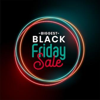 Czarny piątek sprzedaż świecące neonowe