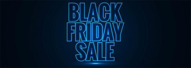 Czarny piątek sprzedaż świecące niebieski tekst