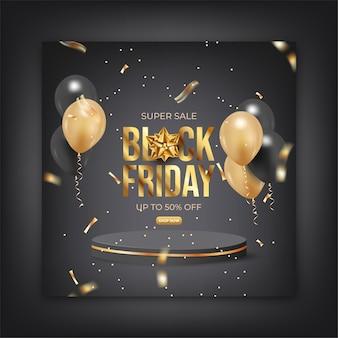 Czarny piątek sprzedaż szablon mediów społecznościowych do promocji
