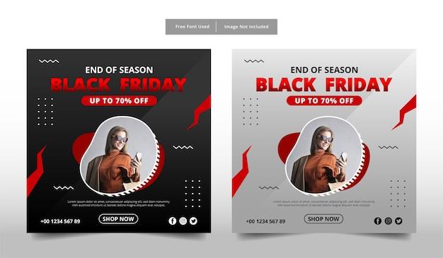 Czarny piątek sprzedaż szablon mediów społecznościowych.