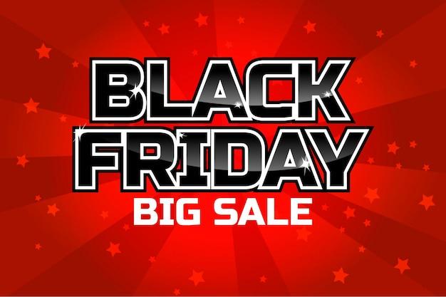Czarny piątek sprzedaż szablon projektu napis na czerwonym tle. plakat wektor