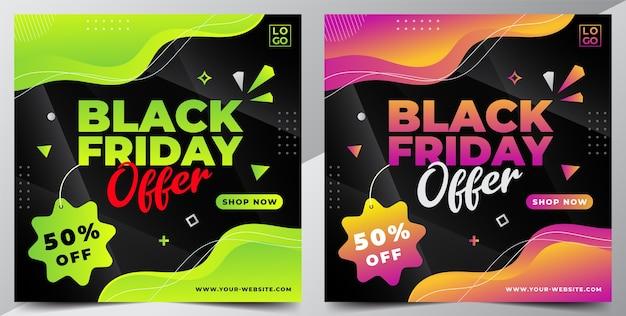 Czarny piątek sprzedaż szablon transparent dla postu w mediach społecznościowych