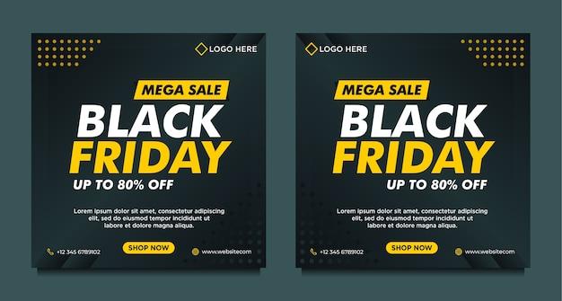 Czarny piątek sprzedaż szablon transparent mediów społecznościowych z czarnym gradientowym stylem