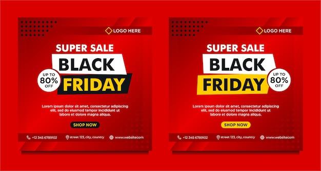 Czarny piątek sprzedaż szablon transparent mediów społecznościowych z czerwonym gradientowym stylem