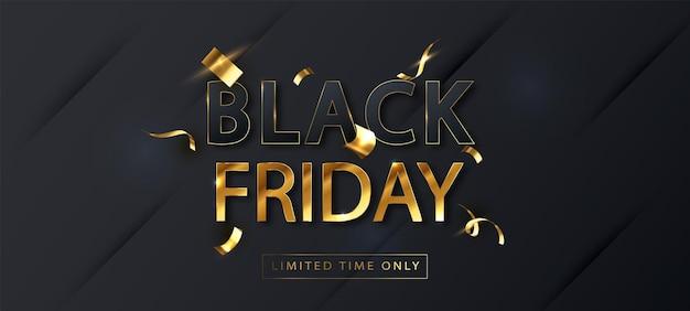 Czarny piątek sprzedaż szablon transparent. sprzedam promo plakat poziomy. tylko ograniczony czas. tło wektor.